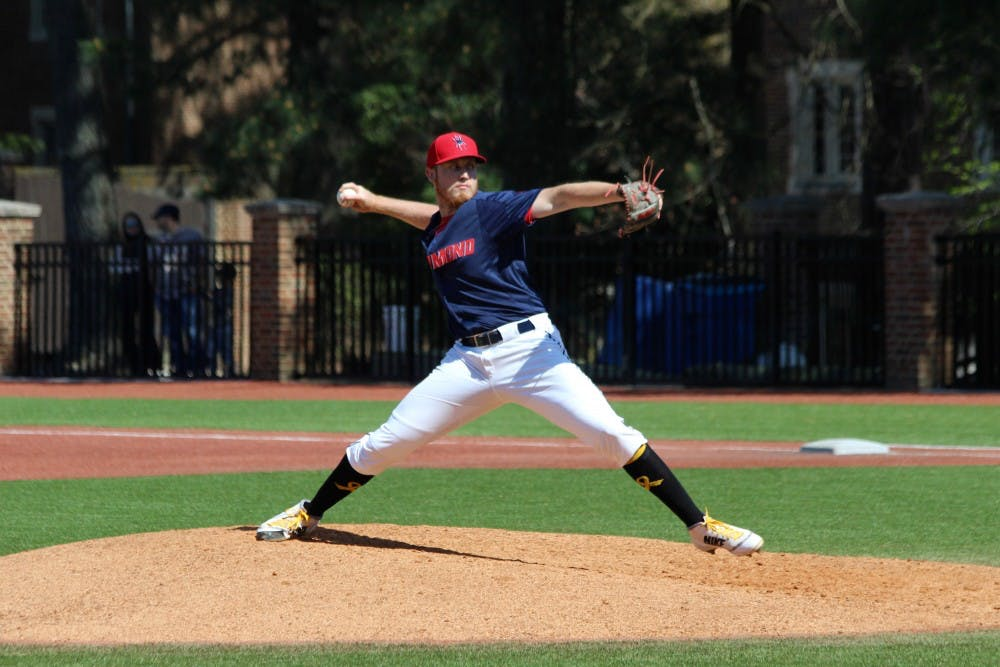 <p>Junior&nbsp;Peter Bovenzi pitches during an&nbsp;April 21 game against Davidson. The Spiders lost 3-0.&nbsp;&nbsp;</p>