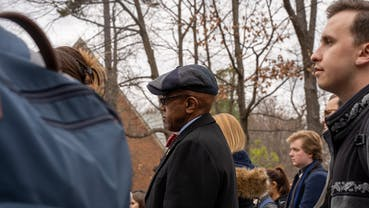 Crutcher at protest