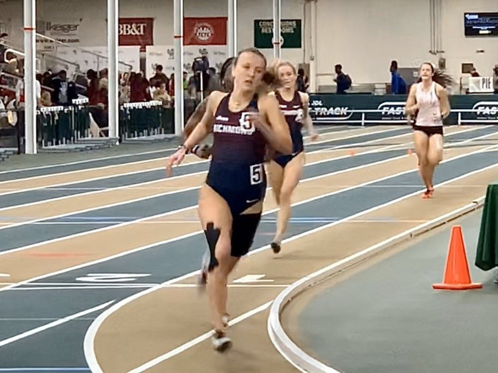 Kayla O'Connell running a 600 meter race at JDL Fast Track Indoor Track and Field event in Winston-Salem, North Carolina. Courtesy of Richmond XCTF