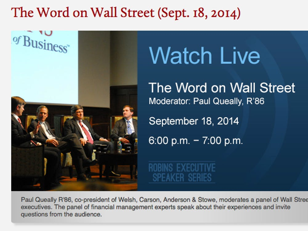 Paul Queally, University of Richmond board of trustees member, will moderate a panel of Wall Street executives Sept. 18.