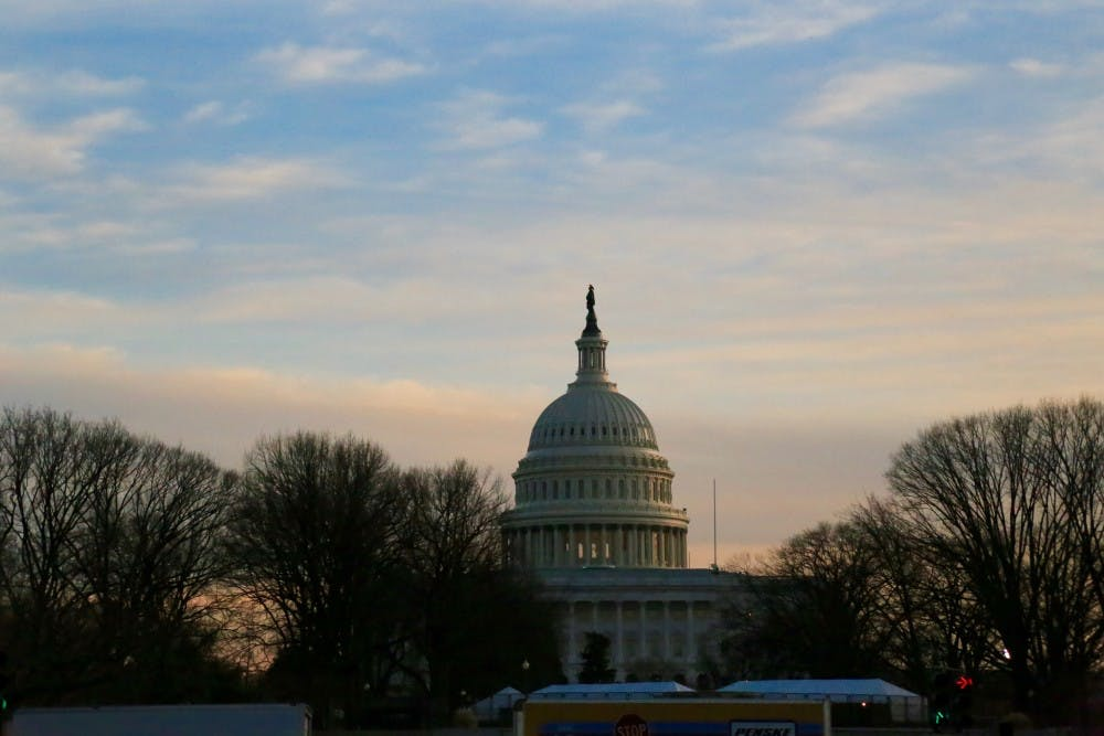 <p>The U.S. Capitol at dusk the day before Donald Trump's inauguration on Jan 19.</p>