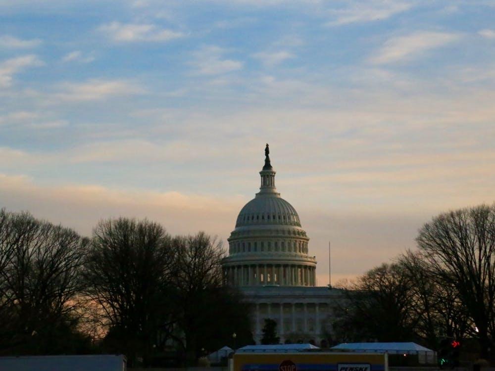 The U.S. Capitol at dusk the day before Donald Trump's inauguration on Jan 19.
