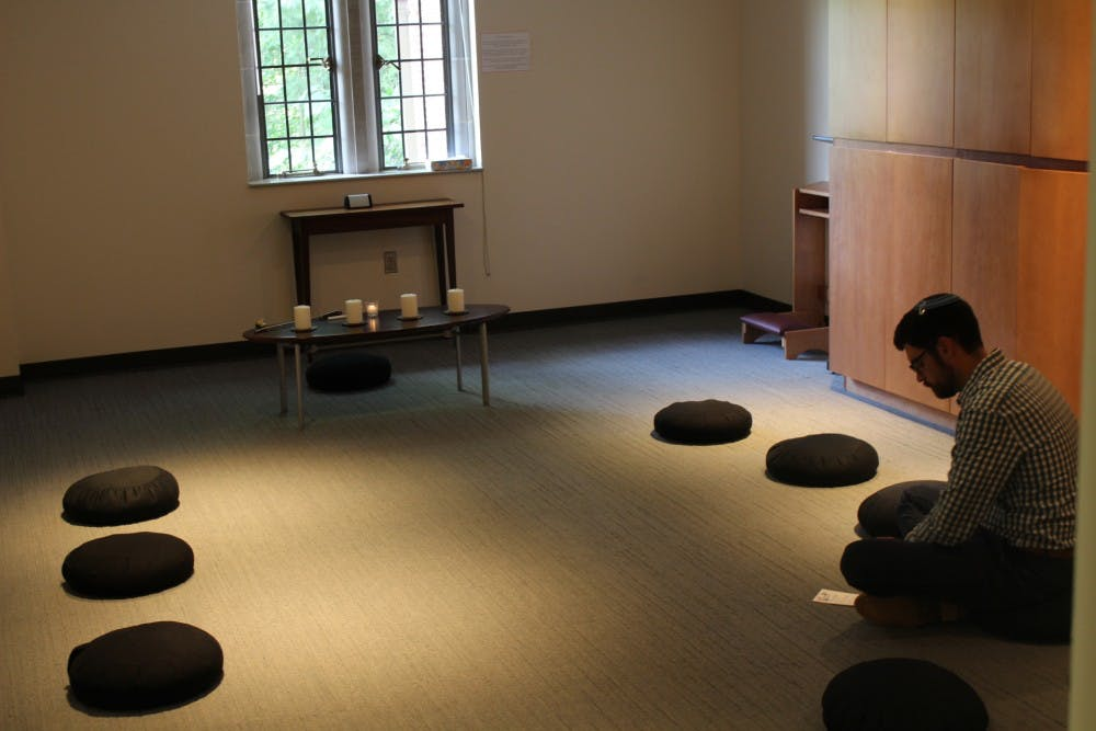 """<p>Jewish Chaplain Josh Jeffreys attends the """"Sacred Pause,"""" a new initiative created by the Office of the Chaplaincy.</p>"""