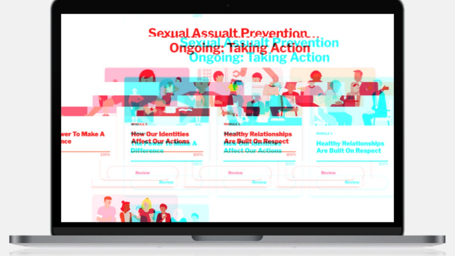 A screenshot of Western's sexual assault prevention training online module through the company EverFi. The training has been shown to be ineffective, and researchers say ineffective training can be harmful. // Photo illustration by Nate Sanford and Lauren Gallup