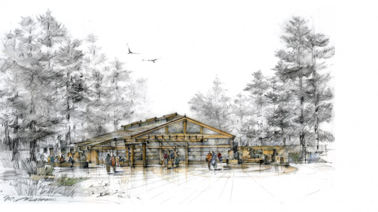 An initial draft of the proposed longhouse to be built at Western Washington University. The large cedar structure will be used to host Native American Student Union events and will be a cultural center for meetings, workshops and educational seminars. // Illustration courtesy of Laural Ballew