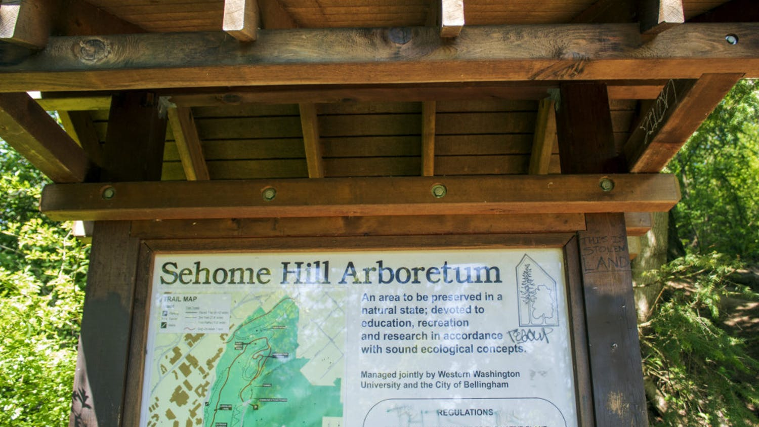 Map of Sehome Hill Arboretum trail system on Tuesday, May 11, 2021, in Bellingham, Wash. The map shows the 175.5 acres included in the Arboretum. // Photo by Cameron Martinez
