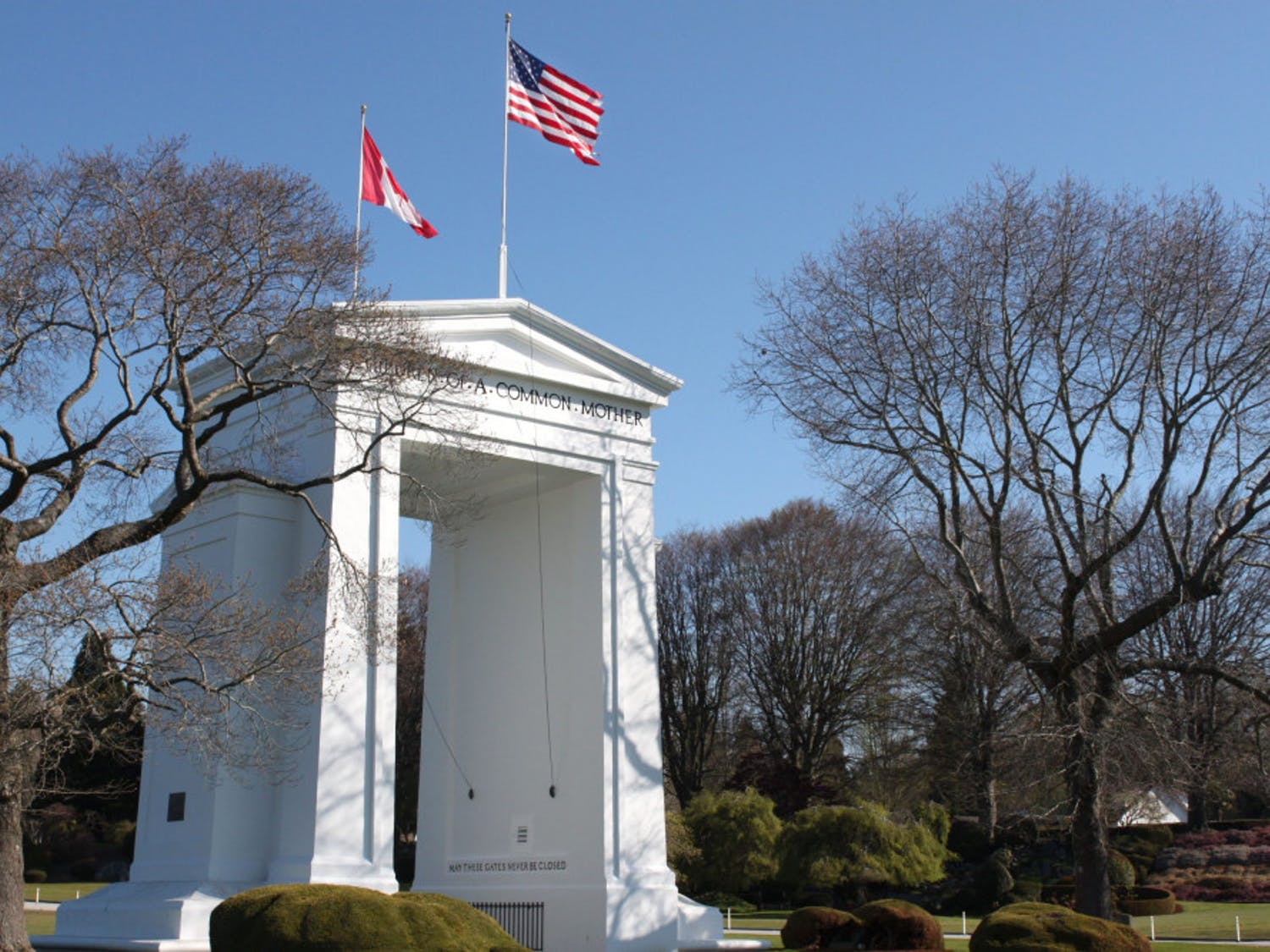 The Peace Arch Monument stands between the border of the U.S. and Canada at Peace Arch Historical State Park in Blaine, Wash. The U.S. Department of Homeland Security announced on Tuesday, April 20 that the border would remain closed until May 21. // Photo by Cameron Baird