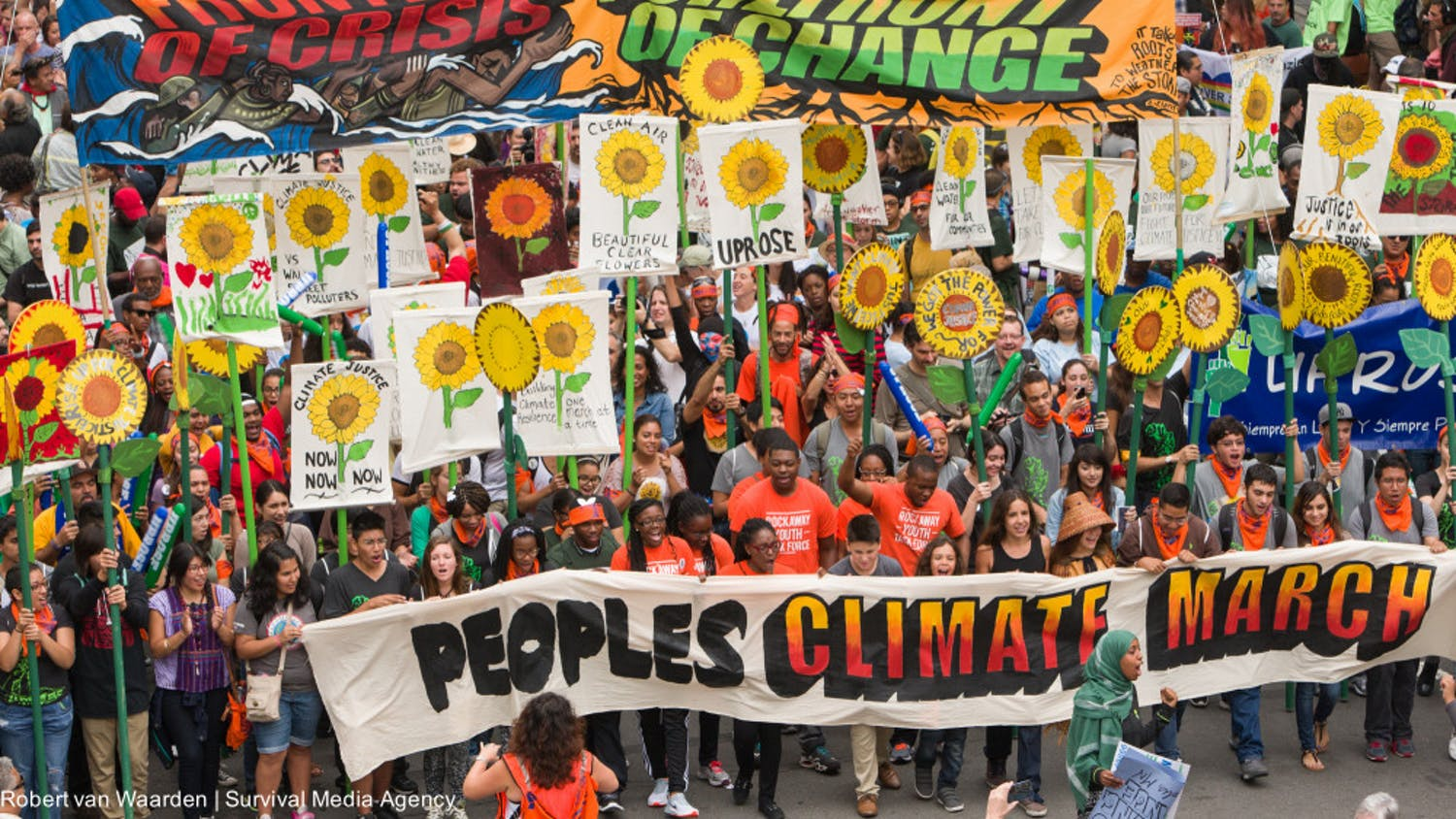 Over 300,000 protesters took to the streets to advocate for environmental justice at the People's Climate March, in 2014. Leaders and policymakers are beginning to implement the concept and work grassroot coalitions have been pushing for years. // Photo courtesy of Robert van Waarden, Survival Media Agency via Flickr.